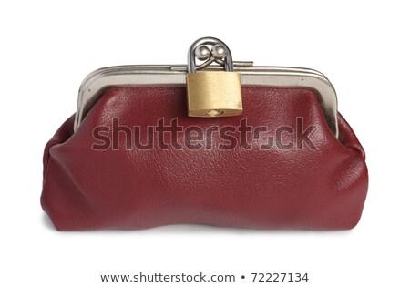 коричневый кошелька заблокированный замок кожа бумажник Сток-фото © lichtmeister