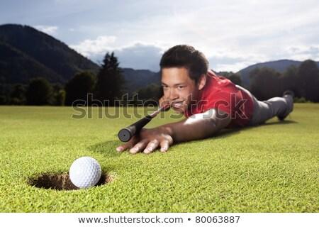 гольфист играет бильярдных зеленый счастливым молодые Сток-фото © lichtmeister