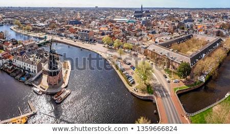 Kanal Niederlande Ansicht Häuser Boot Stock foto © borisb17