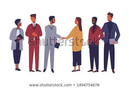 Werknemers handdruk internationale bedrijfsleven vector handel wereldwijd Stockfoto © robuart