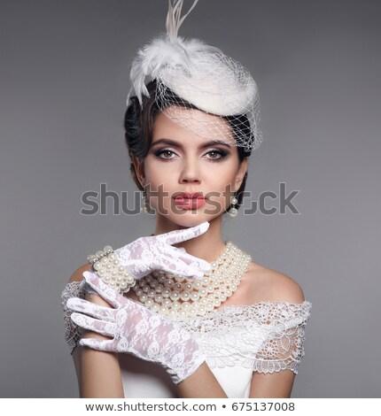ブルネット モデル 着用 現代 ファッショナブル 帽子 ストックフォト © majdansky