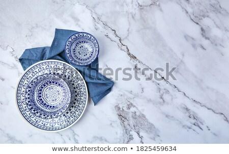 Stockfoto: Blauw · lege · plaat · marmer · tabel · tafelgerei