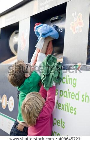 два дети Recycle за пределами улице Сток-фото © Lopolo
