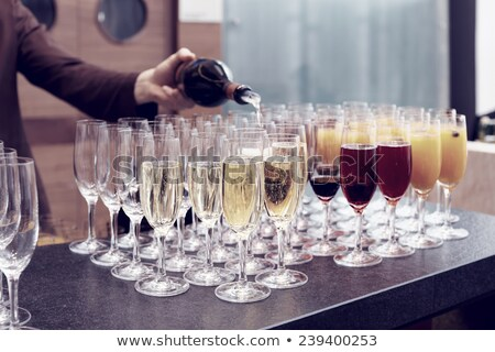 Many glasses with blue champagne or cocktail. Stock photo © Illia