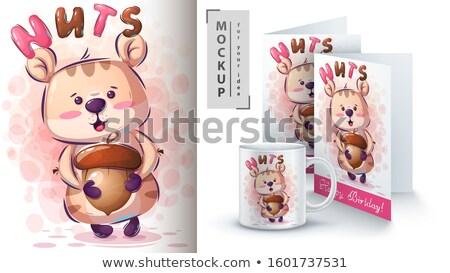 Hamster noix affiche vecteur eps 10 Photo stock © rwgusev
