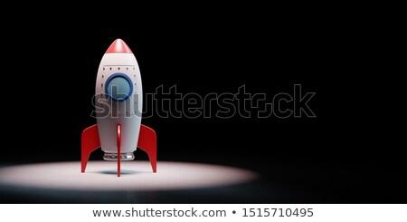 Desenho animado nave espacial preto vermelho branco cópia espaço Foto stock © make