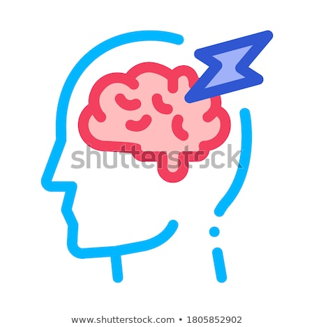 Brain Lightning Volt Silhouette Headache Vector Stock photo © pikepicture