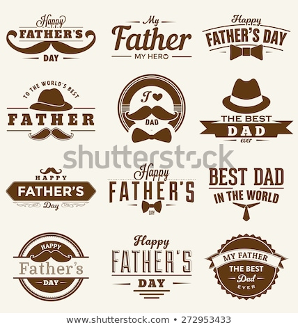 Happy Father's Day Typographical Background with moustache Stock photo © ShustrikS