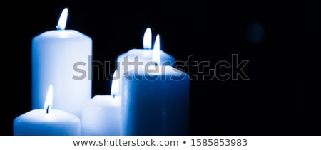 Aromático azul floral velas establecer noche Foto stock © Anneleven