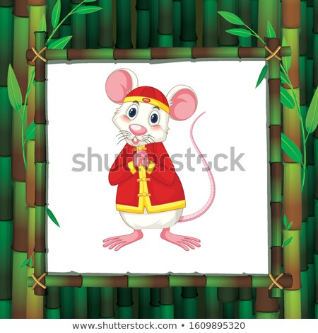 Rat in chinese costume in bamboo frame Stock photo © bluering