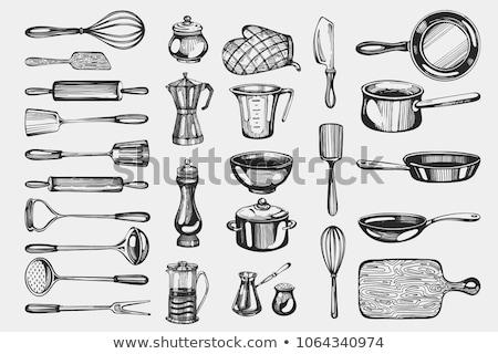 ヴィンテージ キッチン 肉屋 ナイフ フォーク ストックフォト © karandaev