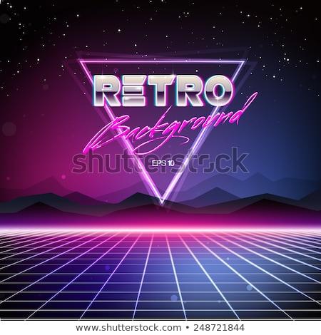Retro Neon Poster in 80s Sci-Fi Style. Stock photo © tashatuvango