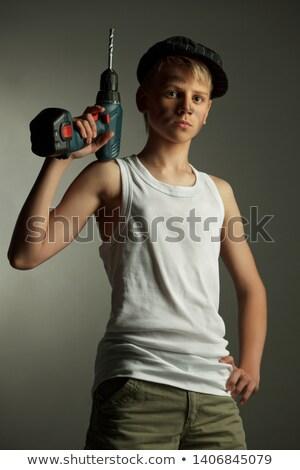Adam gömlek güç yalıtım örnek çılgın Stok fotoğraf © adrenalina