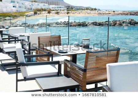 Kávézó terasz integet tenger székek teríték Stock fotó © dashapetrenko