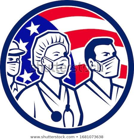 Enfermeira máscara cirúrgica mascote ícone ilustração Foto stock © patrimonio