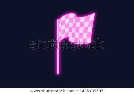 Zakończyć flagi neon sportu promocji samochodu Zdjęcia stock © Anna_leni