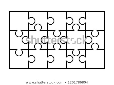 15 white puzzles pieces arranged in a rectangle shape. Jigsaw Puzzle template ready for print. Cutti Stock photo © evgeny89