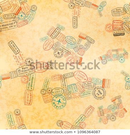Immigratie postzegels auto vliegtuig schip trein Stockfoto © evgeny89