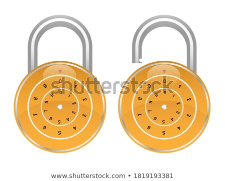 Open round padlock with code numbers on white Stock photo © evgeny89