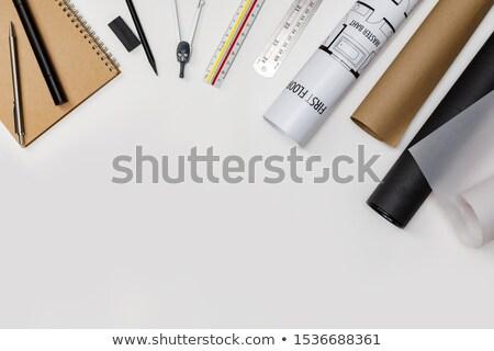 Stylish home studio workspace with laptop, supplies and headphon Stock photo © karandaev
