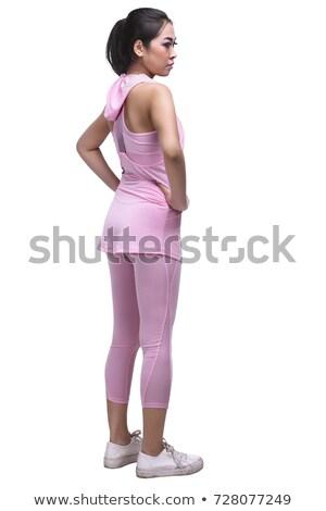 sonriendo · jóvenes · deportivo · muscular · mujer · aislado - foto stock © Nobilior
