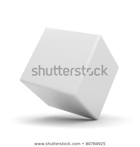 Geïsoleerd Rood futuristische 3D kubus abstractie Stockfoto © FransysMaslo
