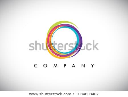 красочный Круги аннотация искусства синий радуга Сток-фото © oliopi