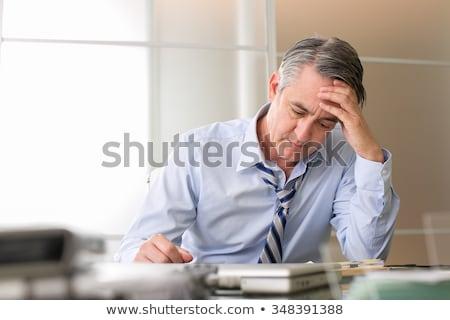Aggódó üzletember esős nap üzletember szomorú Stock fotó © leeser