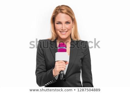 Tv correspondent geïsoleerd witte vrouw microfoon Stockfoto © zeffss