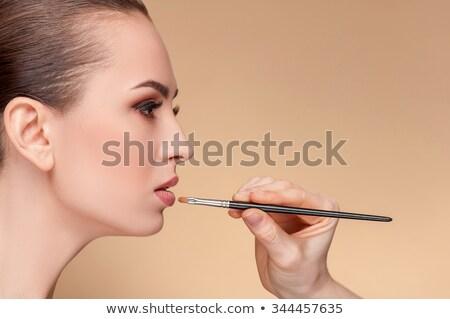 Modell szemhéjfesték sminkmester izolált fehér lány Stock fotó © imarin