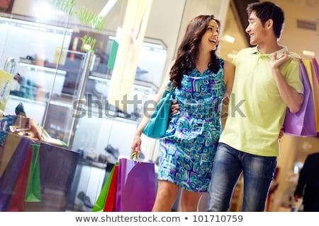 pénztáros · bevásárlószatyor · vásárló · boldog · férfi · üzlet - stock fotó © adam121