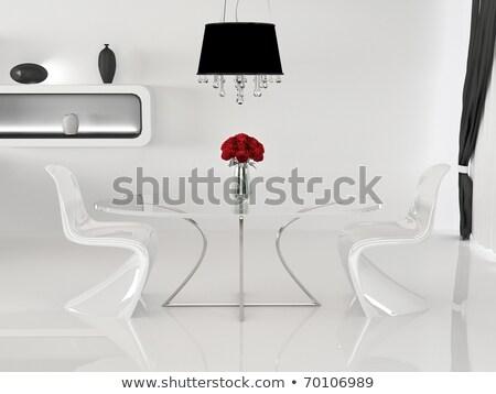 dois · cadeiras · tabela · vaso · minimalismo · interior - foto stock © Victoria_Andreas