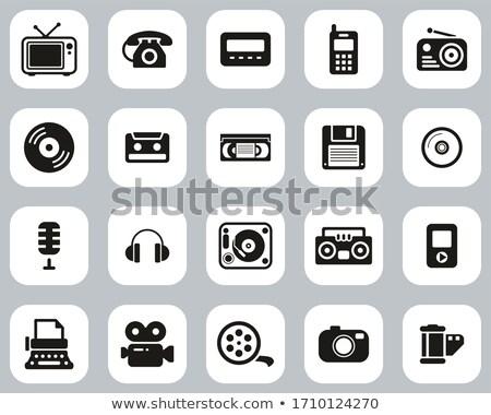 Big set of old phones silhouette. Vector illustration Stock photo © leonido