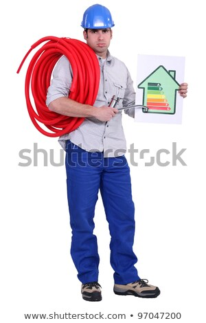 electrician holding energy rating placard stock photo © photography33