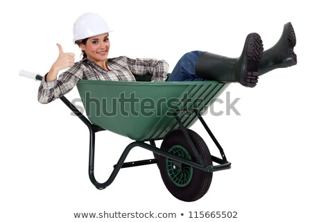 Meu carrinho de mão mulher construção projeto Foto stock © photography33