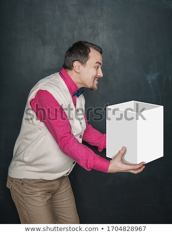 Courier holding the empty chalkboard Stock photo © broker