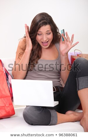 Woman panicking whilst shopping online Stock photo © photography33