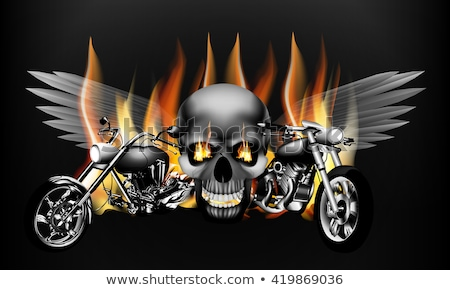 Flaming Skull Graphic Vector Image Stock photo © chromaco