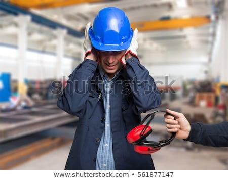 építőmunkás fej ház építkezés ipar munkás Stock fotó © photography33