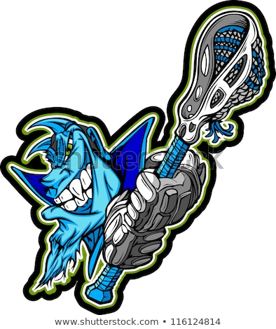Blue Demon Mascot Holding Lacrosse Stick Vector Illustration Stock foto © ChromaCo