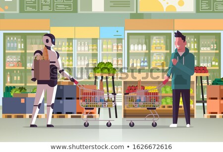 Stock photo: Market vs supermarket: Couple shopping for fruit and vegetables