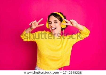 modern · táncos · mutat · győzelem · felirat · fiatal · nő - stock fotó © feedough