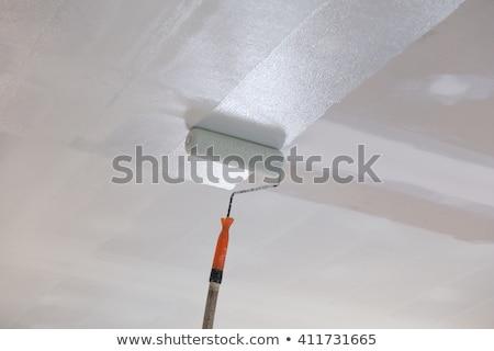 Photo stock: Homme · peinture · plafond · travaux · peinture · shirt