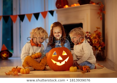 Stok fotoğraf: Aile · halloween · portre · siyah · karanlık