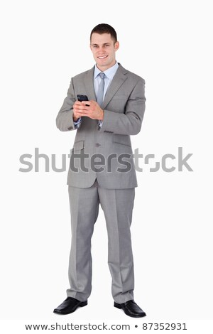 Businessman got good news via text message on white background Stock photo © wavebreak_media