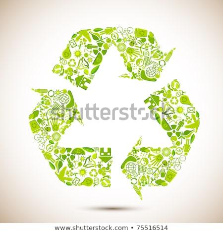 Eco vector background with many icons Stock photo © krabata