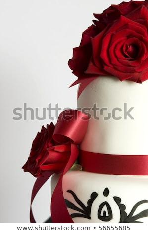 düğün · pastası · kırmızı · gül · resepsiyon - stok fotoğraf © KMWPhotography