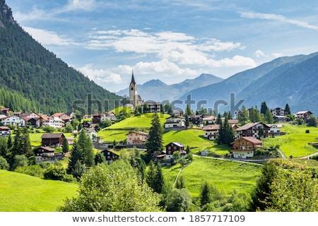 Igreja gramíneo colina pequeno cristão céu Foto stock © hraska