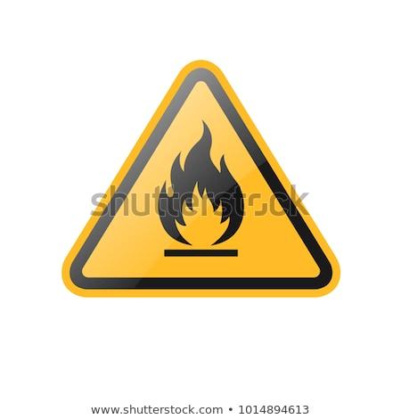 Citromsárga figyelmeztető jel figyelem gyúlékony eps8 technológia Stock fotó © SolanD