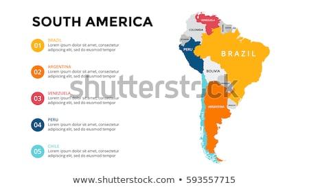 Güney amerika harita Brezilya manzara siluet kart Stok fotoğraf © Ustofre9